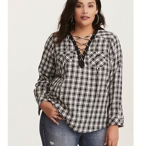 Torrid White & Black Plaid Lace Up Flannel size 2X